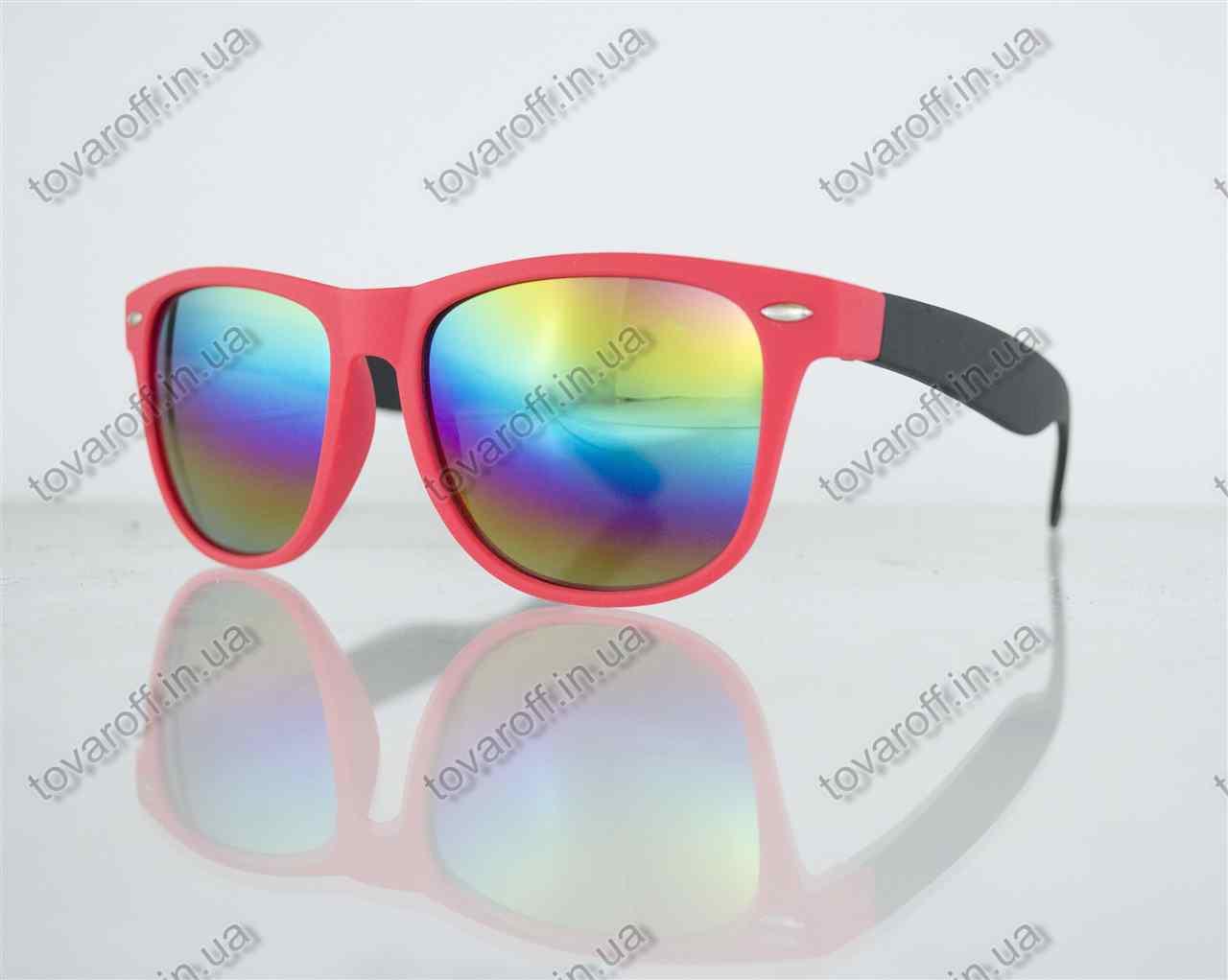 Оптом очки унисекс солнцезащитные Вайфарер (Wayfarer) с зеркальными линзами - Теракотово-черные - 2623