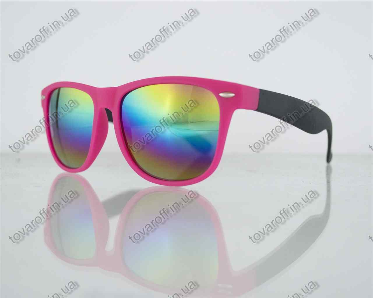 Оптом очки унисекс солнцезащитные Вайфарер (Wayfarer) с зеркальными линзами - Розово-черные - 2623