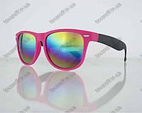 Оптом очки унисекс солнцезащитные Вайфарер (Wayfarer) с зеркальными линзами - Розово-черные - 2623, фото 1