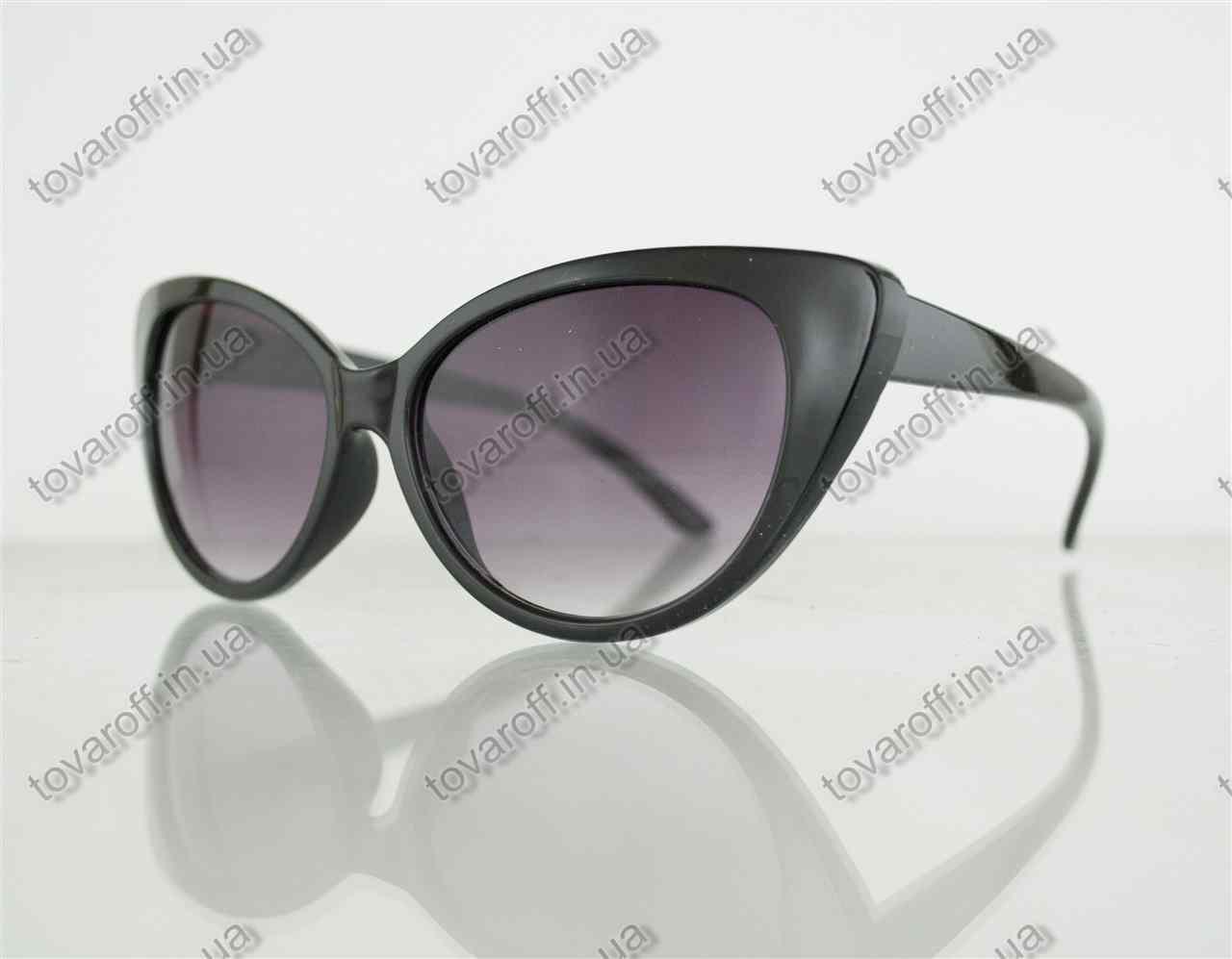 Очки женские солнцезащитные кошачий глаз - Черные - 2555