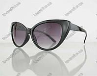 Оптом очки женские солнцезащитные кошачий глаз - Черные - 2555