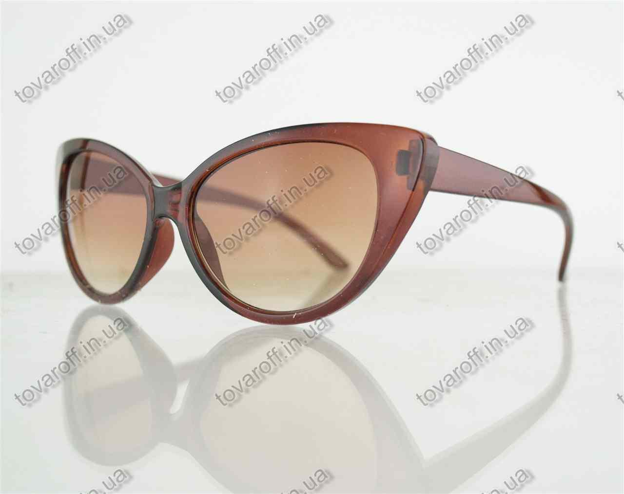 Оптом очки женские солнцезащитные кошачий глаз - Коричневые - 2555