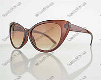 Оптом очки женские солнцезащитные кошачий глаз - Коричневые - 2555, фото 1