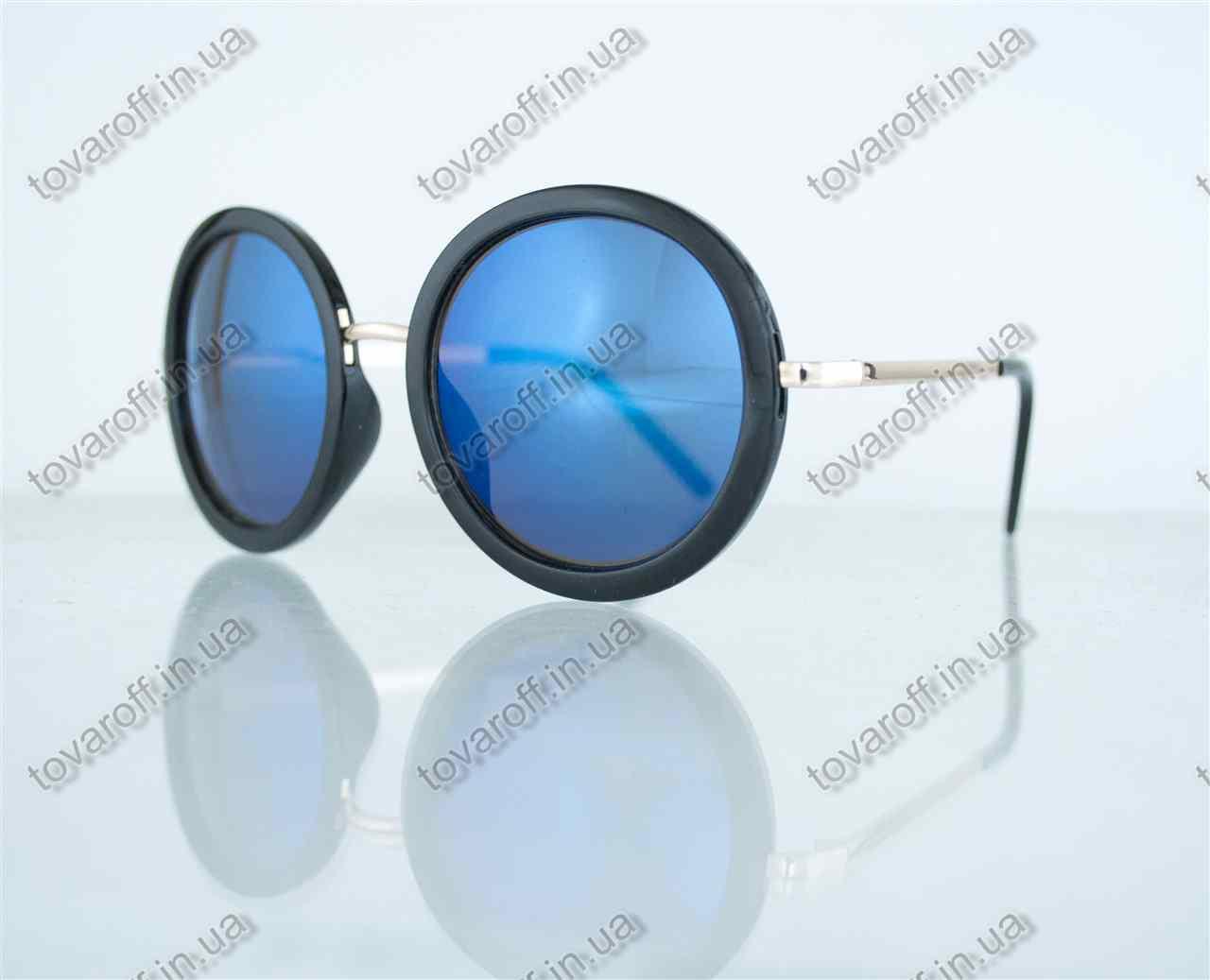 Оптом очки унисекс солнцезащитные круглые - Черные с синими зеркальными линзами - 2106