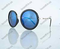 Оптом очки унисекс солнцезащитные круглые - Черные с синими зеркальными линзами - 2106, фото 1