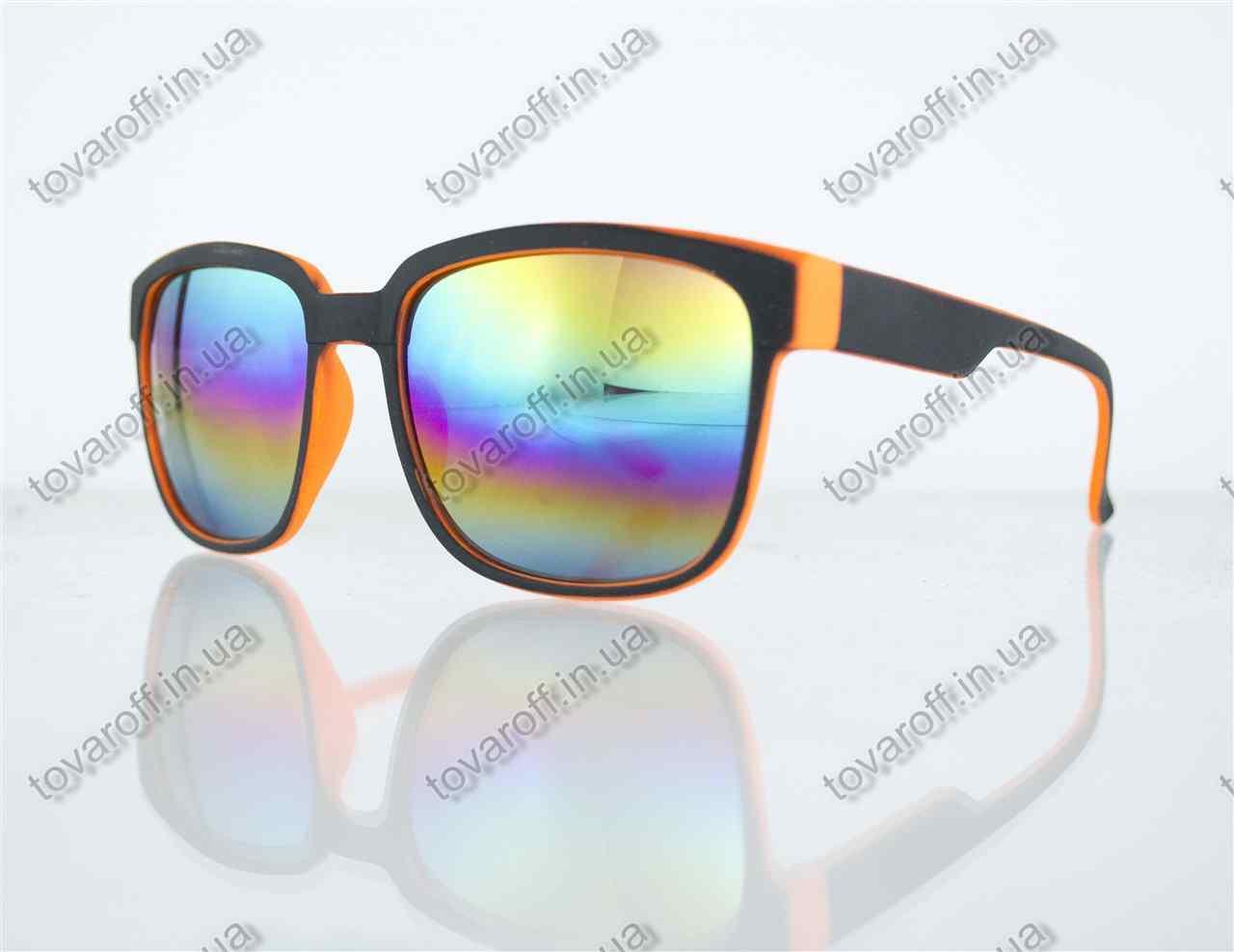 Окуляри унісекс сонцезахисні Вайфарер (Wayfarer) з дзеркальними лінзами - Чорно-помаранчеві - 2104