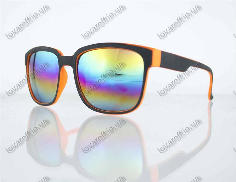 Окуляри унісекс сонцезахисні Вайфарер (Wayfarer) з дзеркальними лінзами - Чорно-помаранчеві - 2104, фото 2