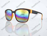Оптом очки унисекс солнцезащитные Вайфарер (Wayfarer) с зеркальными линзами - Черно-оранжевые - 2104, фото 1