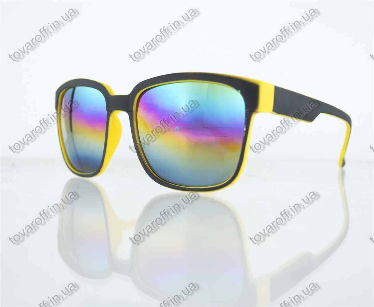 Оптом очки унисекс солнцезащитные Вайфарер (Wayfarer) с зеркальными линзами - Черно-желтые - 2104, фото 1