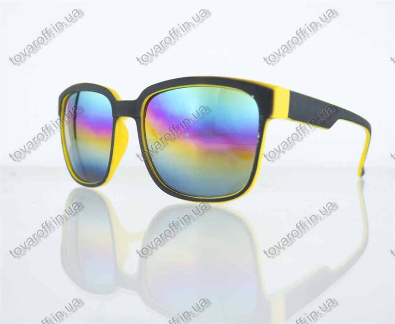 Оптом очки унисекс солнцезащитные Вайфарер (Wayfarer) с зеркальными линзами - Черно-желтые - 2104, фото 2