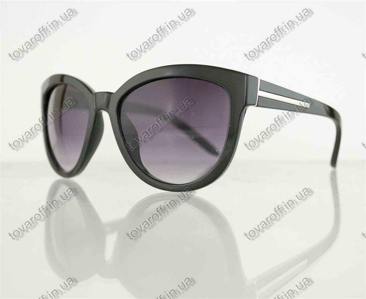 Очки унисекс солнцезащитные в стиле Вайфарер (Wayfarer) - Черные - 1016, фото 1