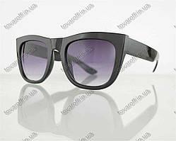 Очки унисекс солнцезащитные в стиле Вайфарер (Wayfarer) - Черные - 025