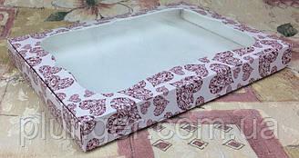 Коробка для печенья, пряников, с окном Сердца, 20 см х 30 см х 3 см, мелованный картон