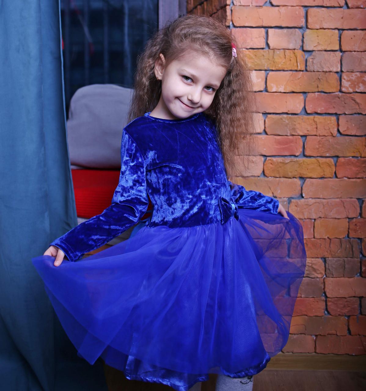 Детское бархатное платье с длинным рукавом и фатином синее