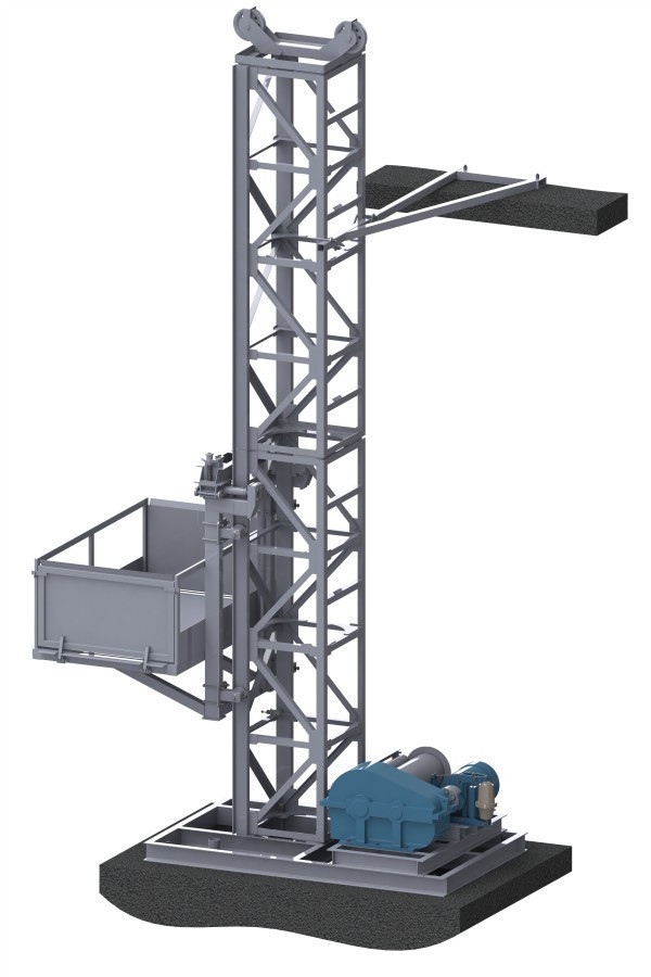 Н-41 м, г/п 1000 кг. Мачтовые Строительные подъёмники для подачи стройматериалов. Строительный подъёмник
