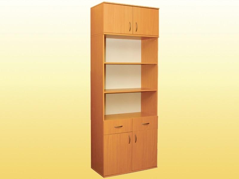 Шкаф книжный с 2 яшиками, 2-дверный, с антресолью (0640,0653)