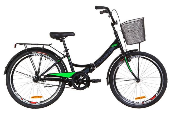 """Складной велосипед 24"""" Formula SMART с корзиной 2020 (черно-салатный), фото 2"""