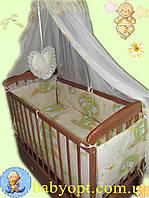 Набор в детскую кроватку ПОЛИКОТОН Мишки на лестнице беж. 8 эл, фото 1