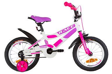 """Детский велосипед 14"""" Formula RACE 2019 (бело-малиновый с фиолетовым)"""