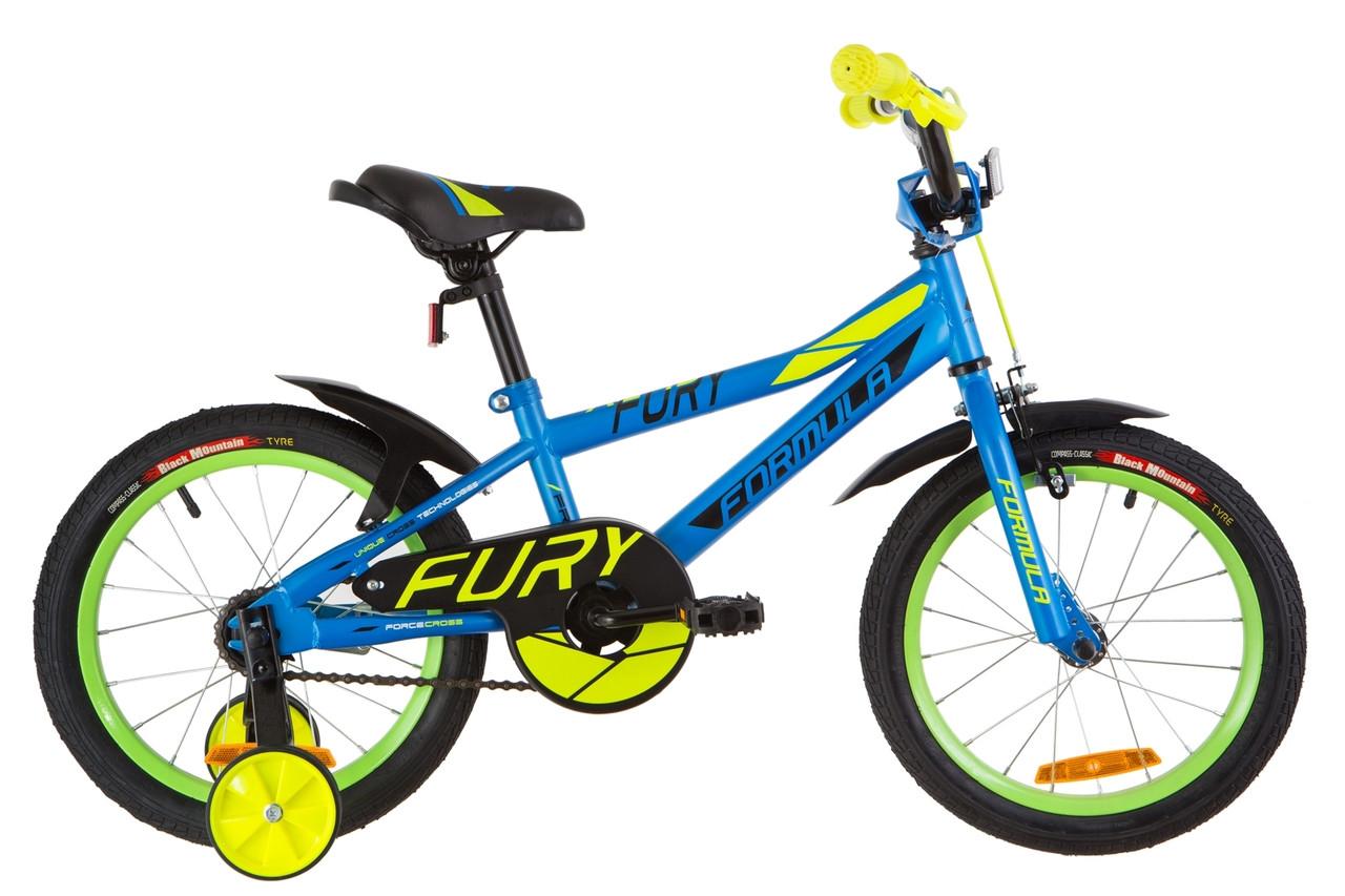 """Детский велосипед 16"""" Formula FURY 2019 (голубой с зеленым (м))"""
