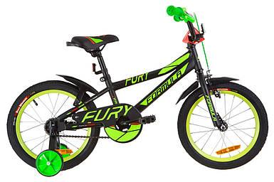 """Детский велосипед 16"""" Formula FURY 2020 (черно-зеленый с красным (м))"""