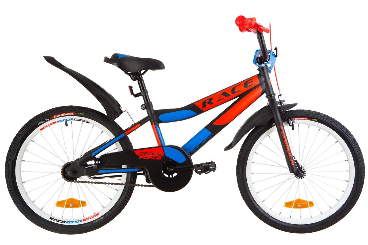 """Детский велосипед 20"""" Formula RACE 2019 (черно-оранжевый с синим (м))"""