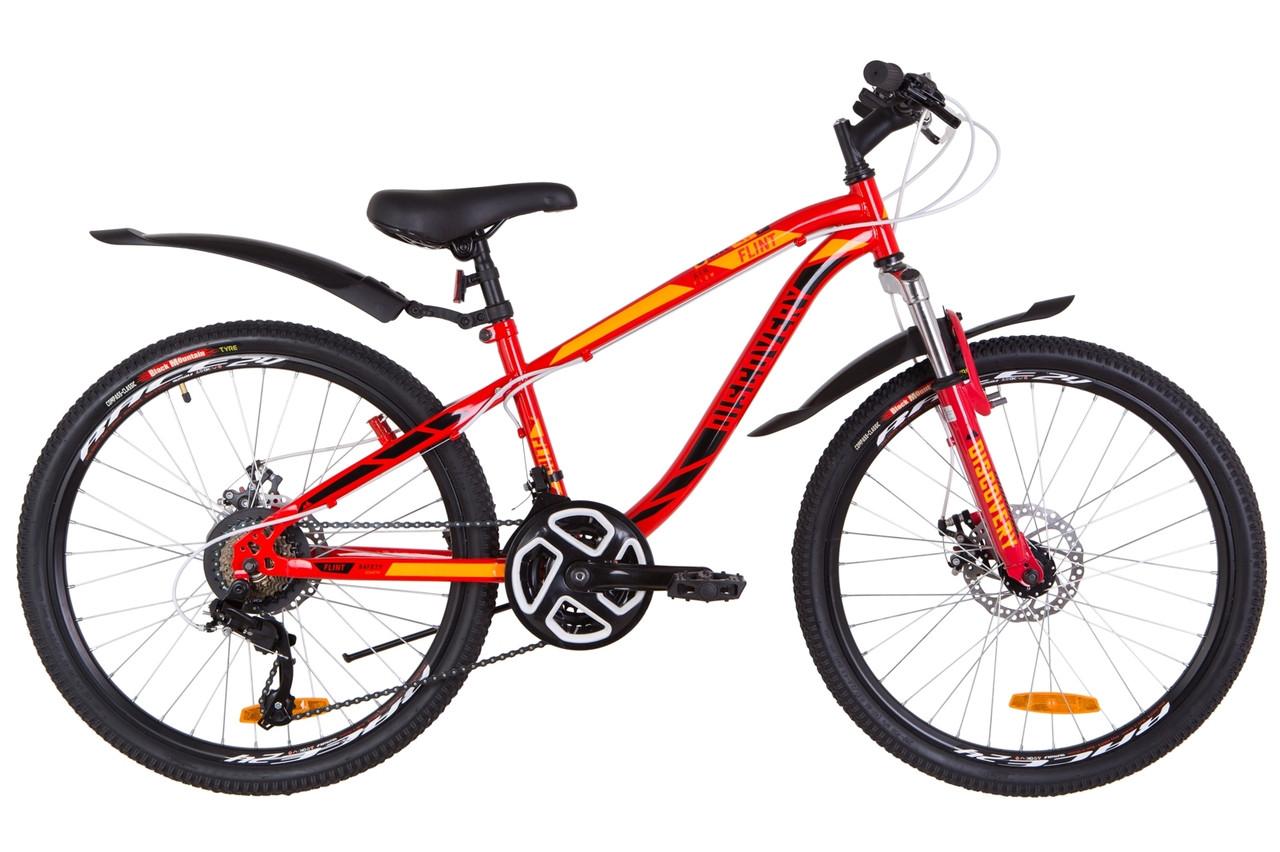 """Подростковый велосипед  24"""" Discovery FLINT AM DD 2019 (красно-оранжевый)"""