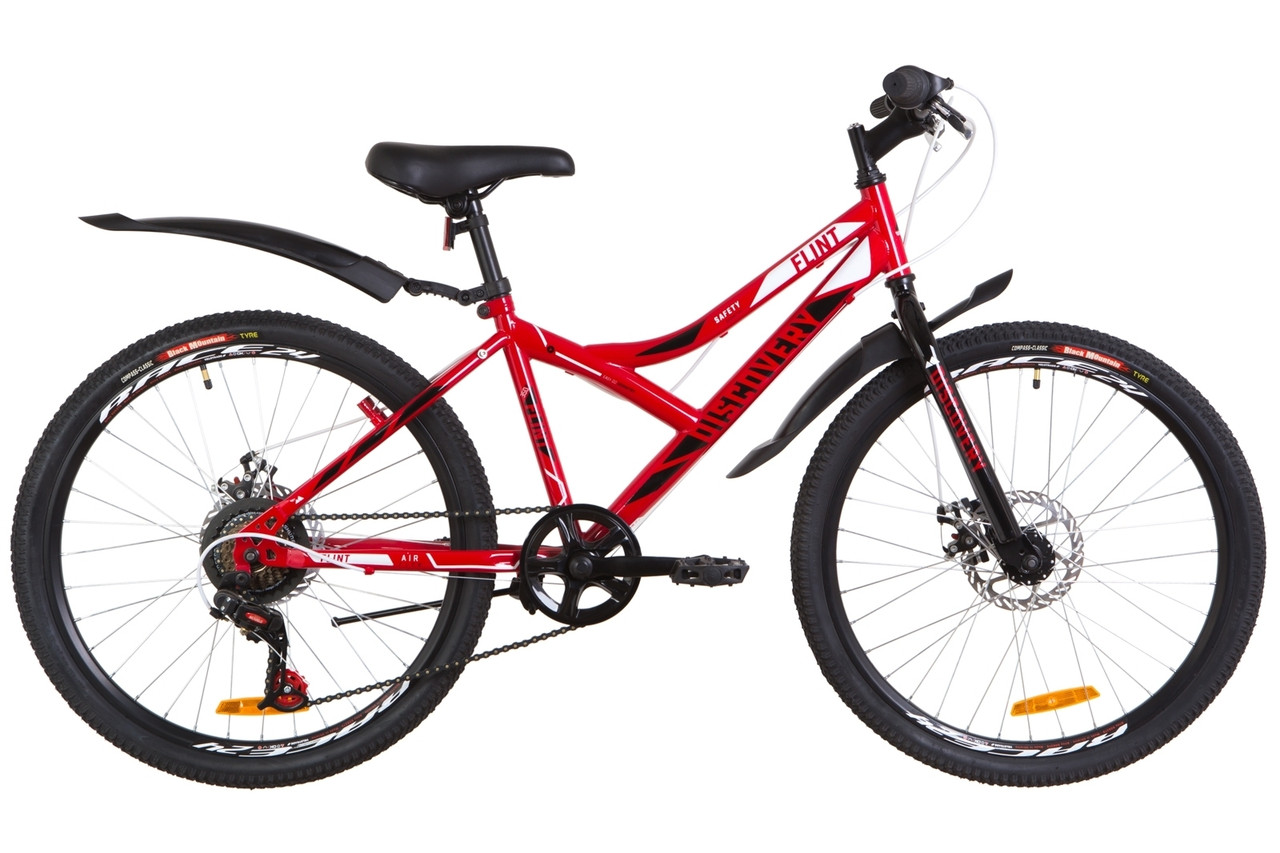 """Подростковый велосипед  24"""" Discovery FLINT DD 2019 (красно-белый с черным)"""