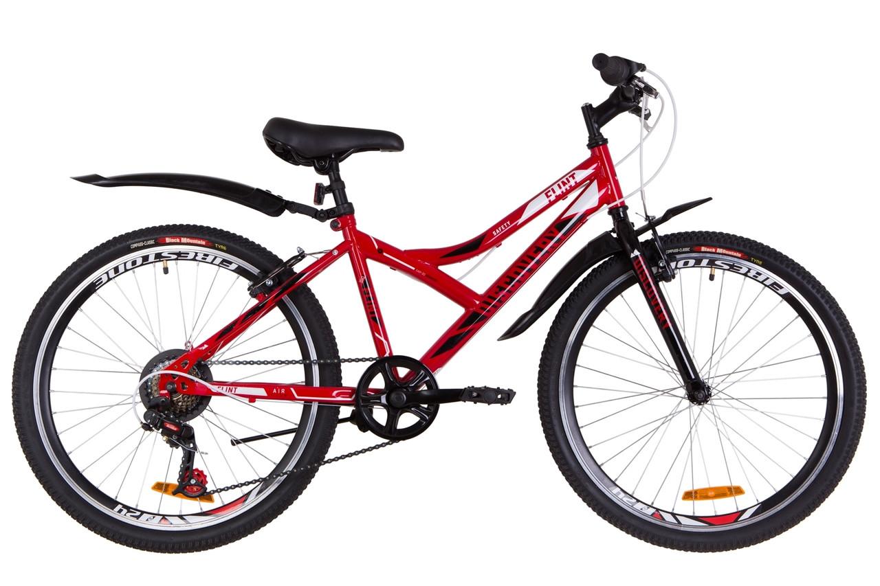 """Подростковый велосипед  24"""" Discovery FLINT 2019 (красно-белый с черным)"""