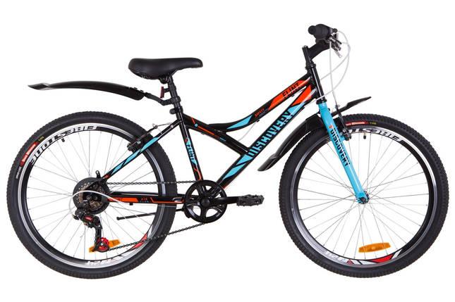 """Подростковый велосипед  24"""" Discovery FLINT 2019 (черно-синий с оранжевым), фото 2"""