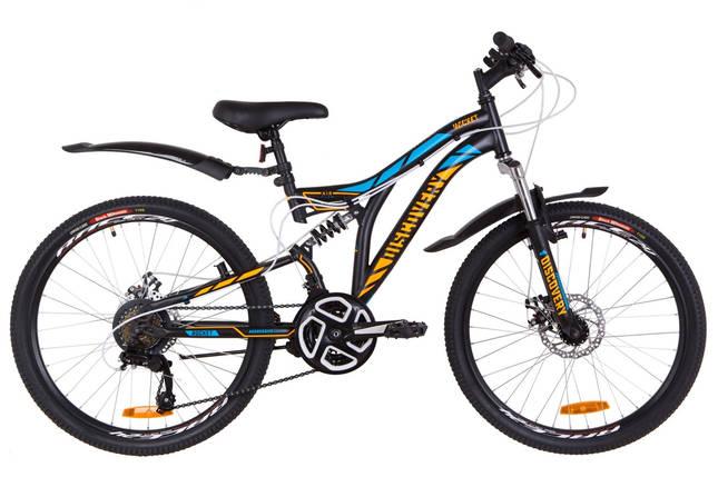 """Двухподвесный горный подростковый велосипед  24"""" Discovery ROCKET DD 2018 (черно-оранжевый с синим (м)), фото 2"""