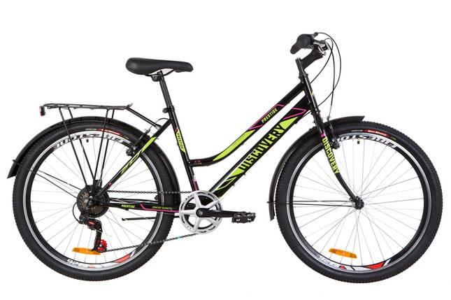"""Городской велосипед для девушки 26"""" Discovery PRESTIGE WOMAN  2018 (черно-салатный с малиновым), фото 2"""