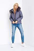 Женская зимняя короткая граифотовая куртка с капюшоном размер  М,Л