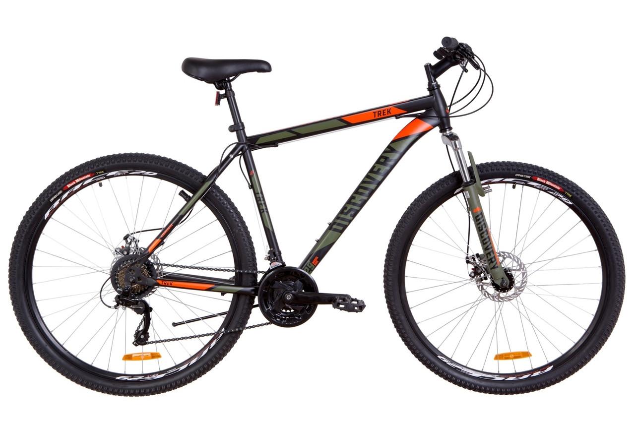"""Горный велосипед 29"""" Discovery TREK DD 2018 (черно-оранжевый хаки (м))"""
