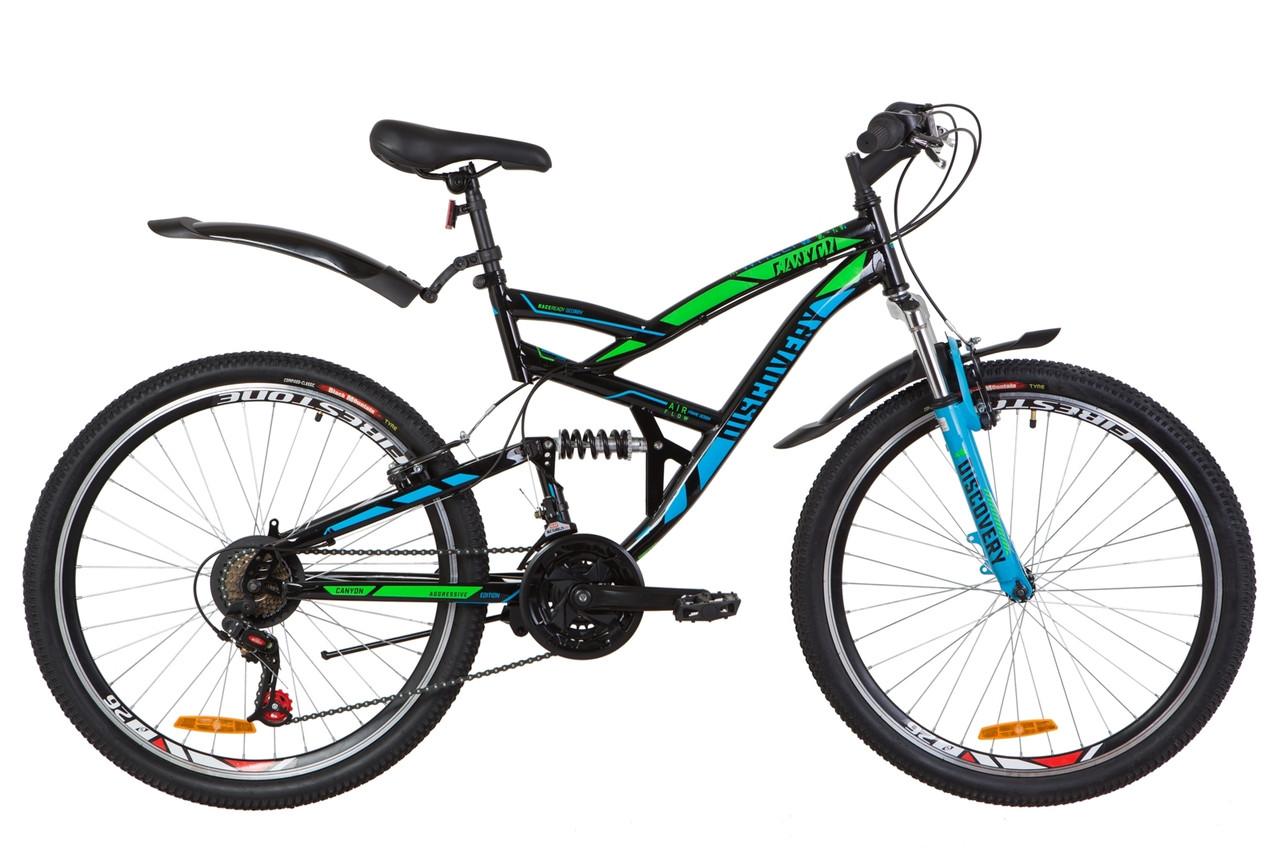 """Горный велосипед 26"""" Discovery CANYON 2019 (черно-синий с зеленым)"""