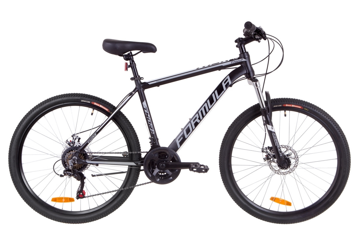 """Горный велосипед 26"""" Formula THOR 1.0 DD 2019 (черно-серый с белым (м))"""
