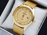 Кварцевые наручные часы Rolex золотого цвета, кольчужный браслет, с датой , фото 1