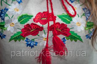 Женская вышиванка серый лен | Жіноча вишиванка сірий льон, фото 2