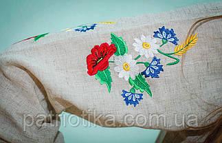 Женская вышиванка серый лен | Жіноча вишиванка сірий льон, фото 3
