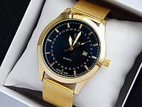 Кварцові наручні годинники Rolex золотого кольору, кольчужний браслет, з датою, фото 1