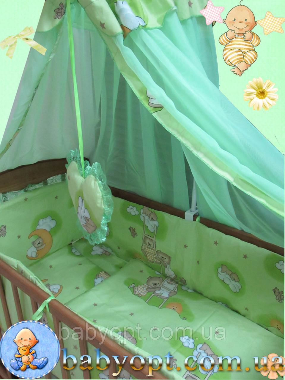 Набор в детскую кроватку ПОЛИКОТОН Мишки на лестнице салатовый 8 эл.