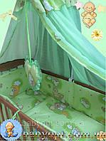 Набор в детскую кроватку ПОЛИКОТОН Мишки на лестнице салатовый 8 эл., фото 1