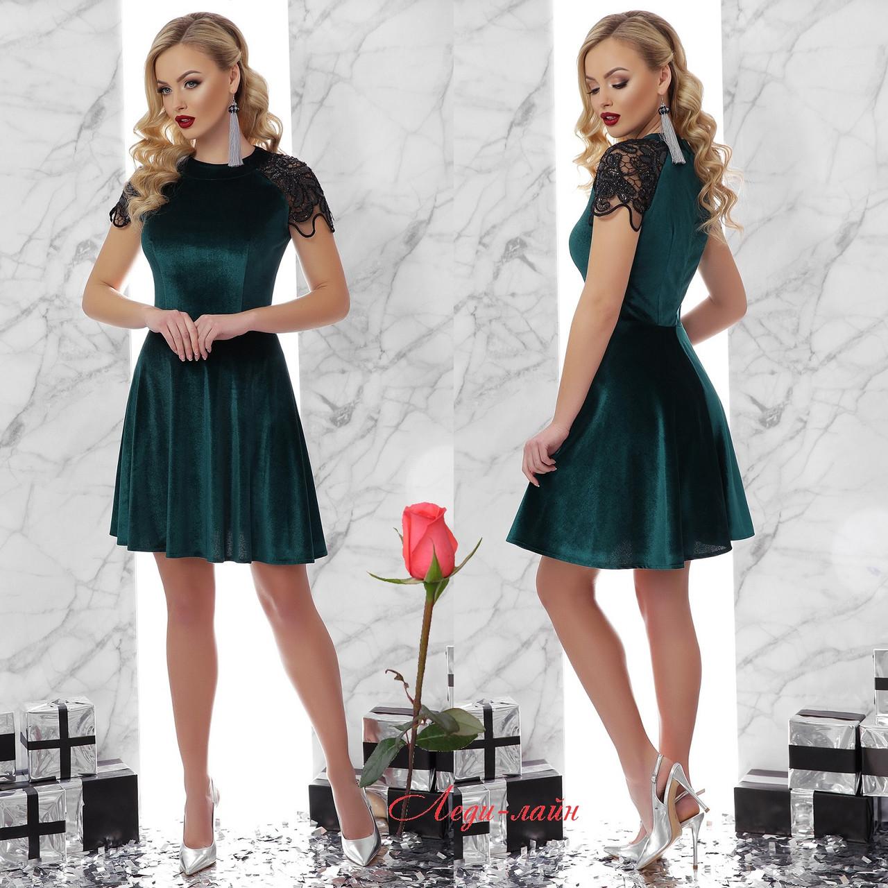 Очень красивое коктейльное платье из велюра GL Диана - Изумруд