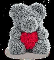 ОРИГИНАЛ Мишка из роз В КОРОБКЕ, мишка из цветов, подарочный мишка 40 см, ОСТЕРЕГАЙСЯ КОПИЙ-ПОДДЕЛОК