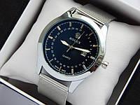 Кварцевые наручные часы Rolex серебристого цвета, кольчужный браслет, с датой , фото 1