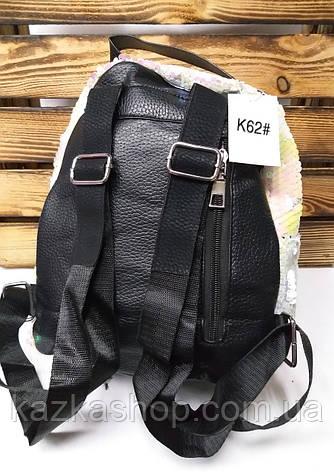 Женский рюкзак с паетками перевертышами бело-розового цвета, один отдел, регулируемые лямки, фото 2