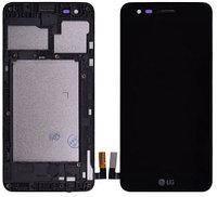 Дисплей (экран) для LG M160 K4 (2017) с сенсором (тачскрином) и рамкой черный Оригинал, фото 2