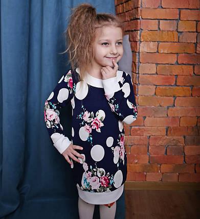 Детская туника для девочки синяя с цветочным принтом, фото 2