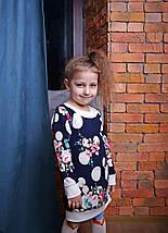 Детская туника для девочки синяя с цветочным принтом, фото 3