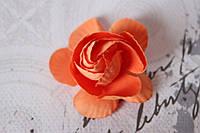 Декоративные цветы камелии диаметр 5 см, оранжевого цвета без ножки